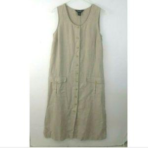 ☀RAFAELLA 100% Linen Tan 4 button up Pockets EUC